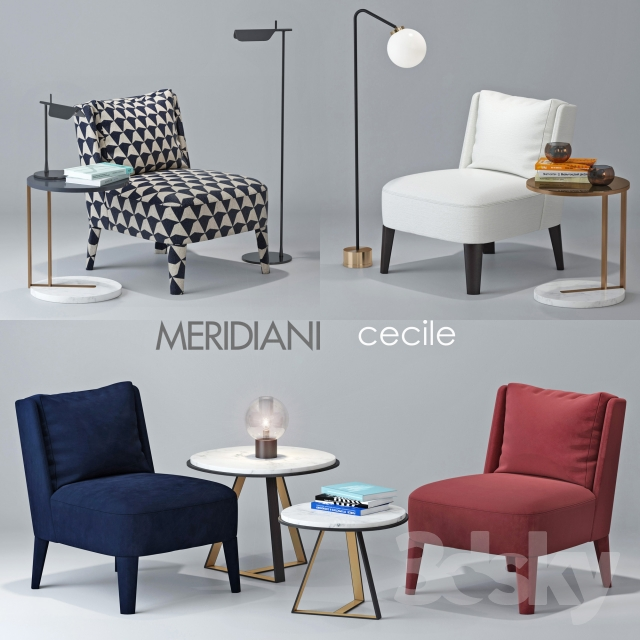 3d Models Arm Chair Chair Meridiani Cecile