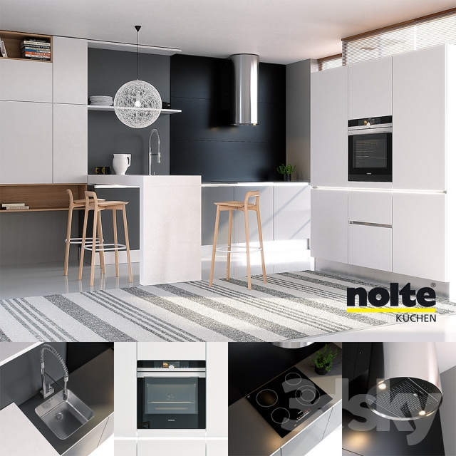 3d Models Kitchen Kitchen Nolte Glas Tec Satin Sigma Lack Vray