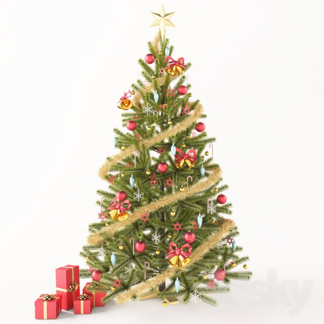 Christmas tree with gifts 3d model