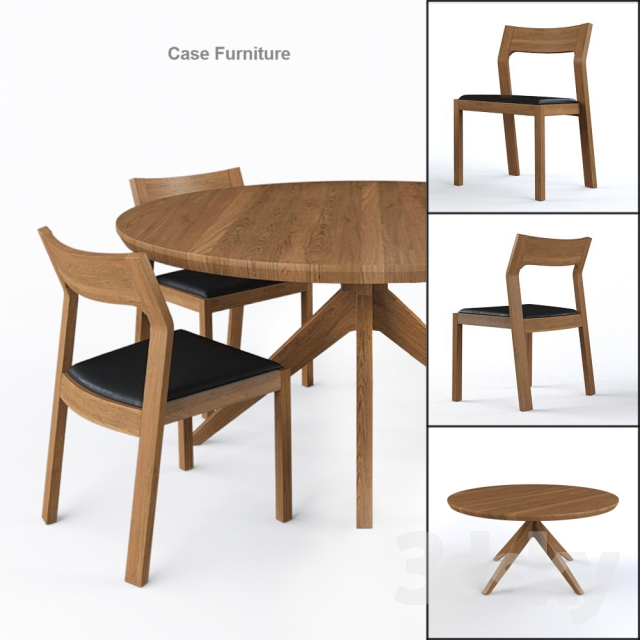 Cross Round Table and profile chair by Matthew Hilton