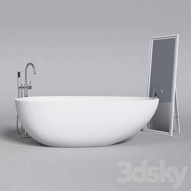 Badeloft Bathtub And Faucet Plus Ikea Harran Mirror