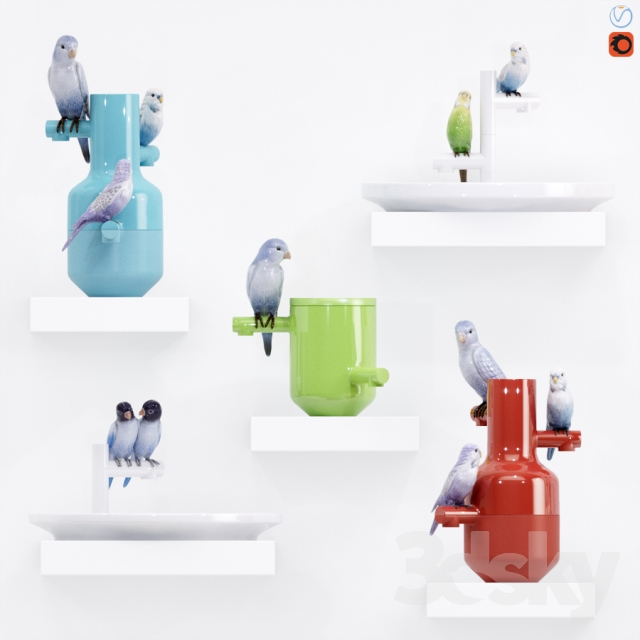 """A set of vases """"The Parrot Party"""""""