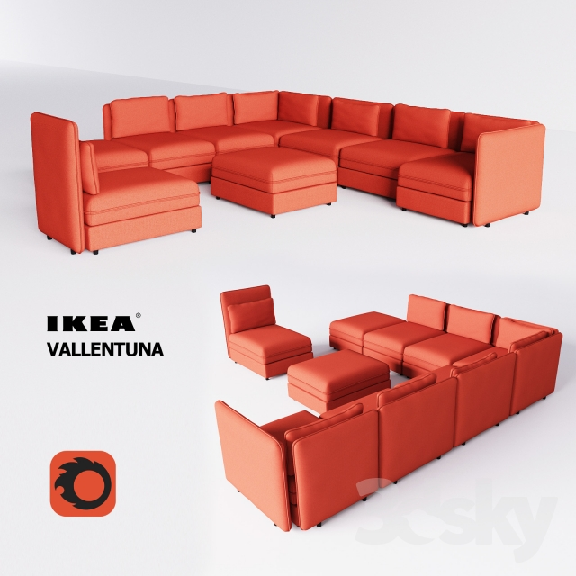 3d models sofa vallentuna ikea. Black Bedroom Furniture Sets. Home Design Ideas