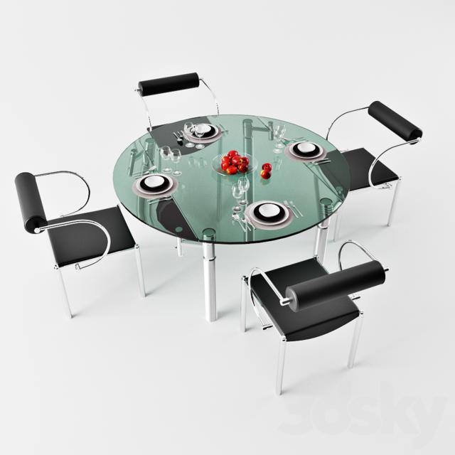 Dining table, stekljanyj