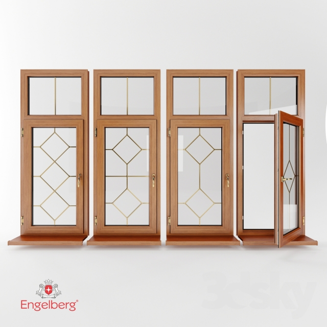 D models windows plastic with muntin bars