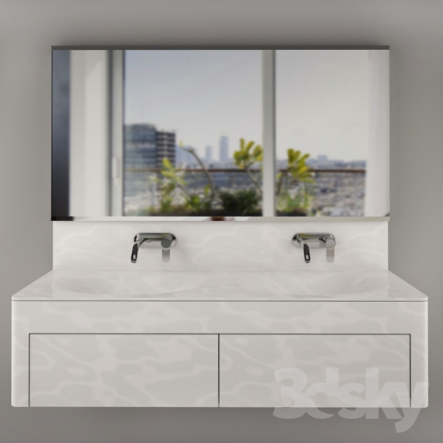 Wash basin with pedestal of corian`a