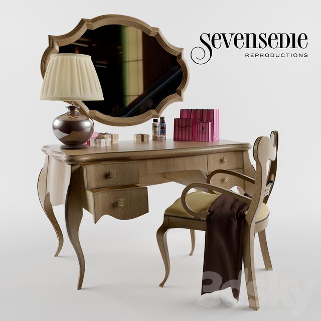 Set Dressing table Sevensedie Baterfly, Mickey chair, mirror Cavus