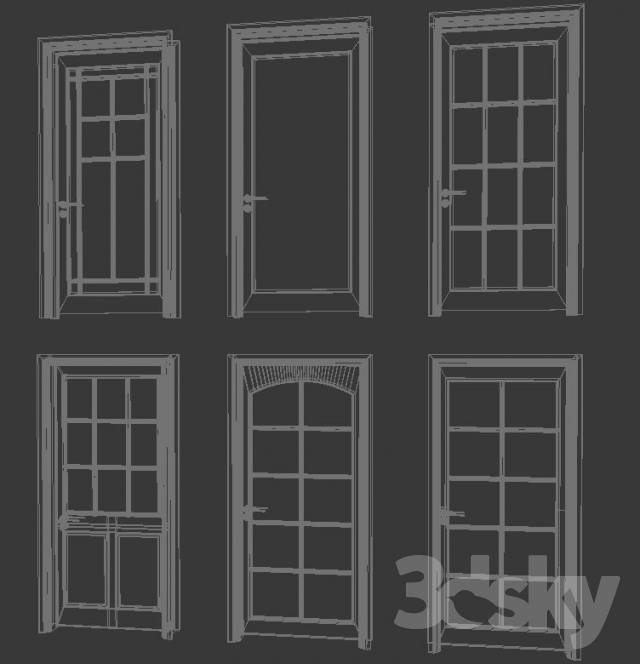 3d models doors six doors with pane glass for 10 pane glass door