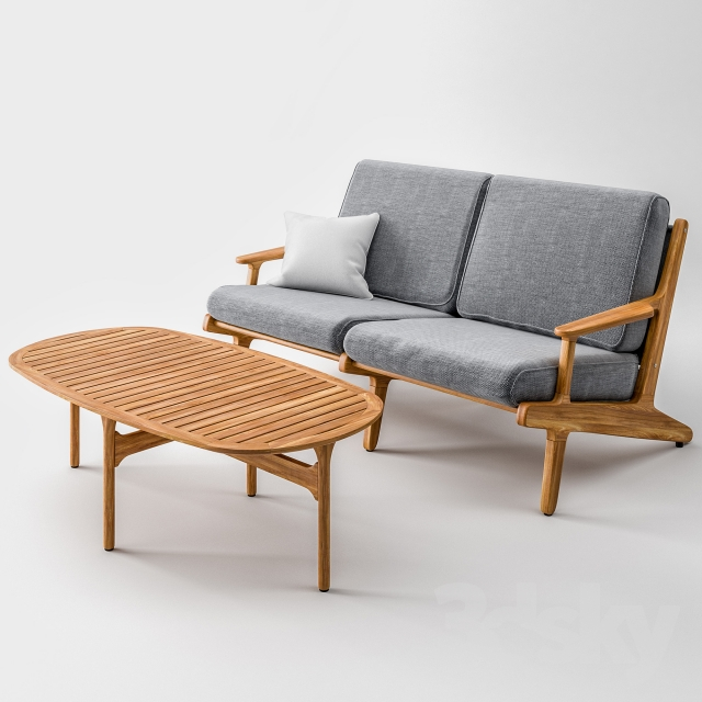 Gloster Bay Lounge Two Seater Sofa And Table