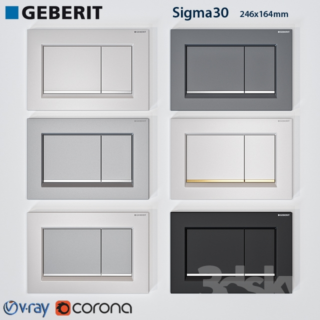 3d models bathroom accessories geberit sigma 30. Black Bedroom Furniture Sets. Home Design Ideas