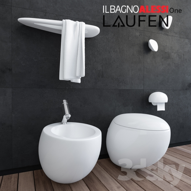 3d models toilet and bidet laufen il bagno alessi one. Black Bedroom Furniture Sets. Home Design Ideas