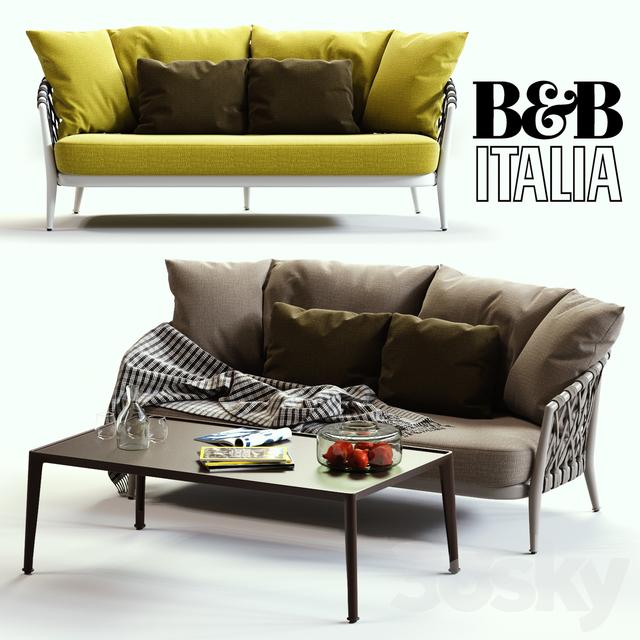 B & B Italia ERICA Grey & Yellow Sofa