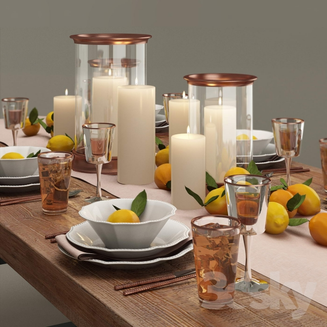 Pottery Barn Dinner Set & 3d models: Tableware - Pottery Barn Dinner Set