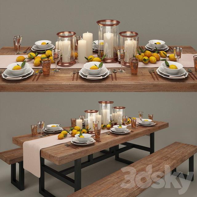 3d Models Tableware Pottery Barn Dinner Set