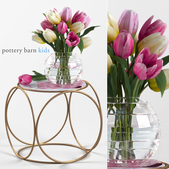 D Models Table Pottery Barn Kids Marble Top Side Table Bouquet - Pottery barn marble table