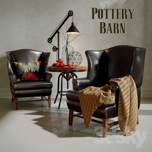 Thatcher Leather Wingback Chair Pottery Barn Set