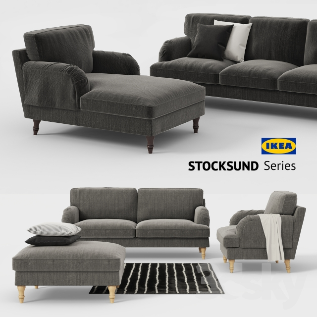 3d models sofa ikea stocksund sofa chair ottoman for Chaise couch cover