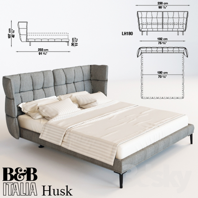 3d models bed bed b b italia husk for B and b italia beds