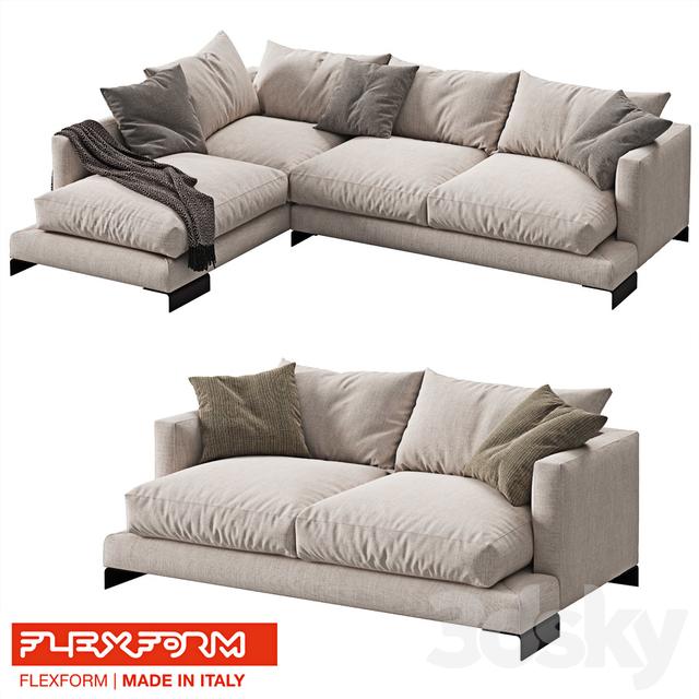 3d models sofa flexform long island 2 sofas. Black Bedroom Furniture Sets. Home Design Ideas
