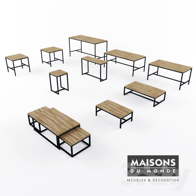 3d models: Table - Maisons du Monde Long Island table collection