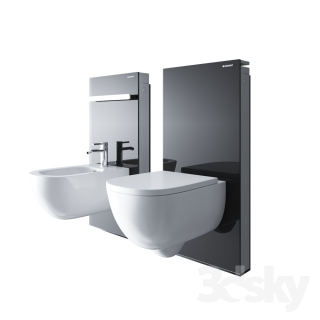 3d models toilet and bidet geberit monolith. Black Bedroom Furniture Sets. Home Design Ideas