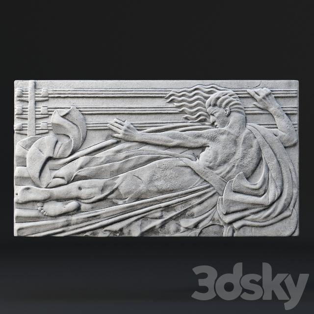 3d models: Decorative plaster - Art Deco Bas Relief