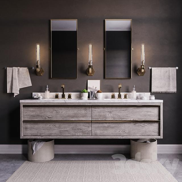 D Models Bathroom Furniture Bezier Double Floating Vanity RH - Rh bathroom