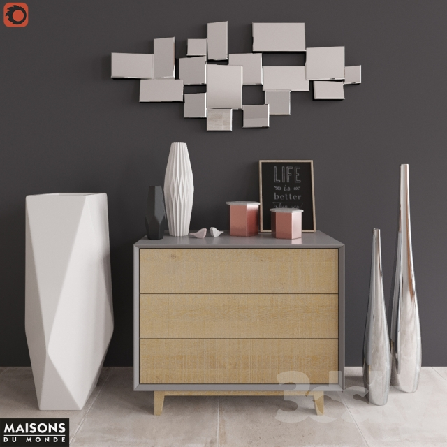 3d models sideboard chest of drawer sommode with decor maisons du monde. Black Bedroom Furniture Sets. Home Design Ideas