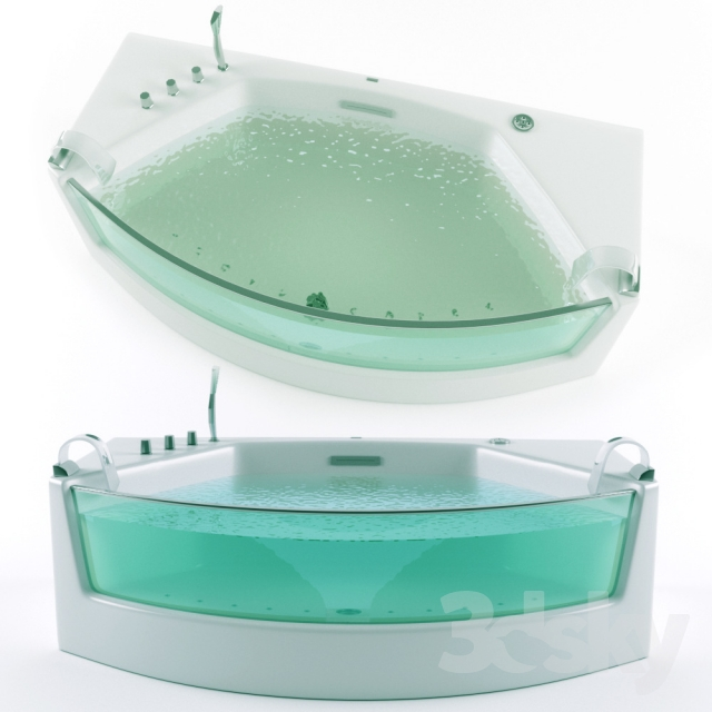 3d models: Bathtub - Acrylic bath with air massage GEMY G 9079 Vray
