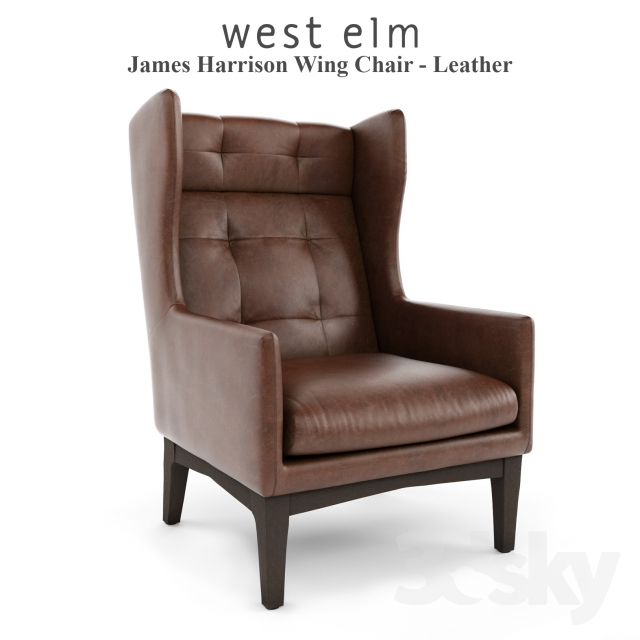 West Elm, James Harrison Wing Chair   Leather