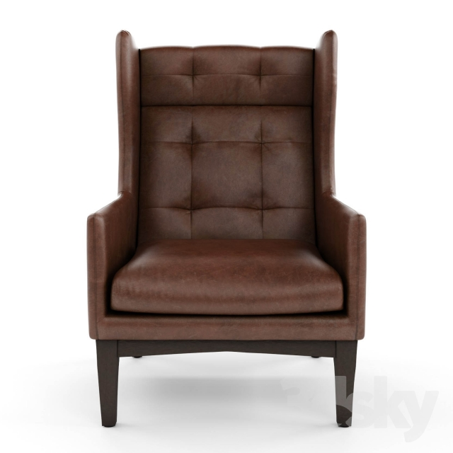 3d Models: Arm Chair   West Elm, James Harrison Wing Chair   Leather