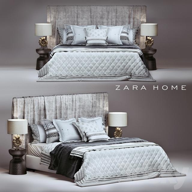 3d models bed zara home bedroom set