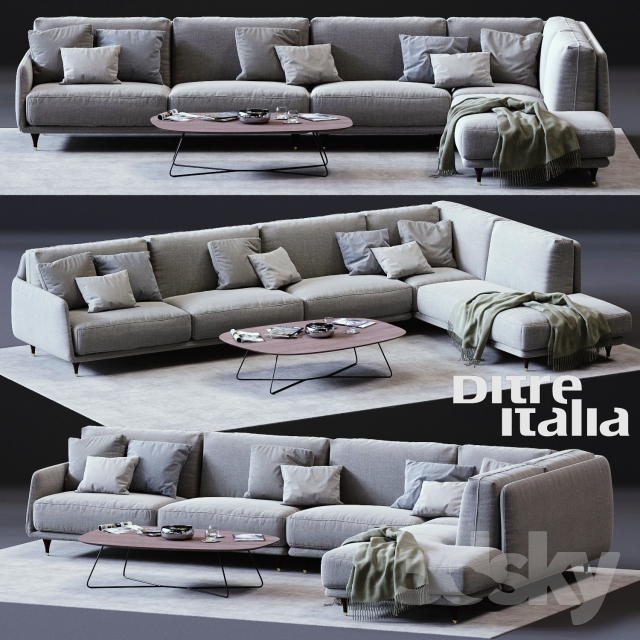 3d models sofa ditre italia elliot corner sofa. Black Bedroom Furniture Sets. Home Design Ideas