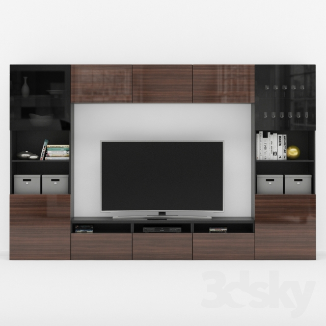 3d models wardrobe display cabinets ikea besta tv stand. Black Bedroom Furniture Sets. Home Design Ideas