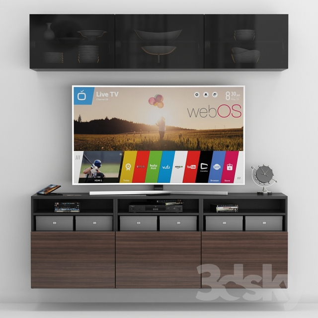 3d models wardrobe display cabinets ikea besta tv stand for Ikea media stands