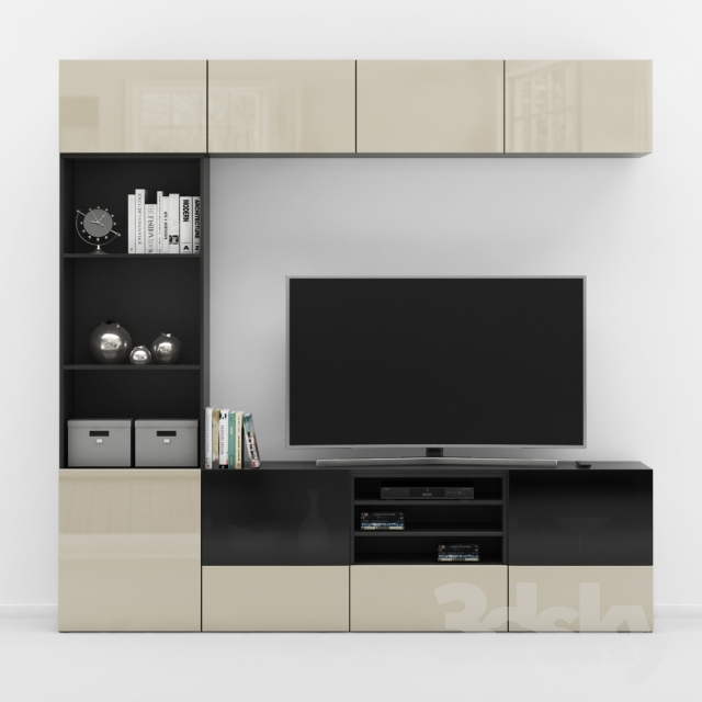 3d models wardrobe display cabinets ikea besta tv stand. Black Bedroom Furniture Sets. Home Design Ideas