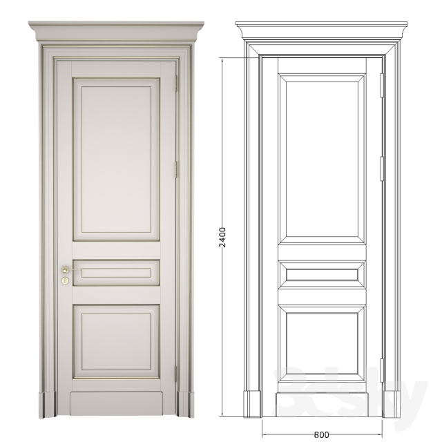 Classic door with cornice + 2D DWG File  sc 1 th 225 & 3d models: Doors - Classic door with cornice + 2D DWG File