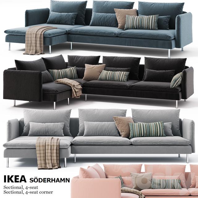 Corner Sofas Ikea SODERHAMN Sectional, 4 Seat, Sectional, 4 Seat Corner