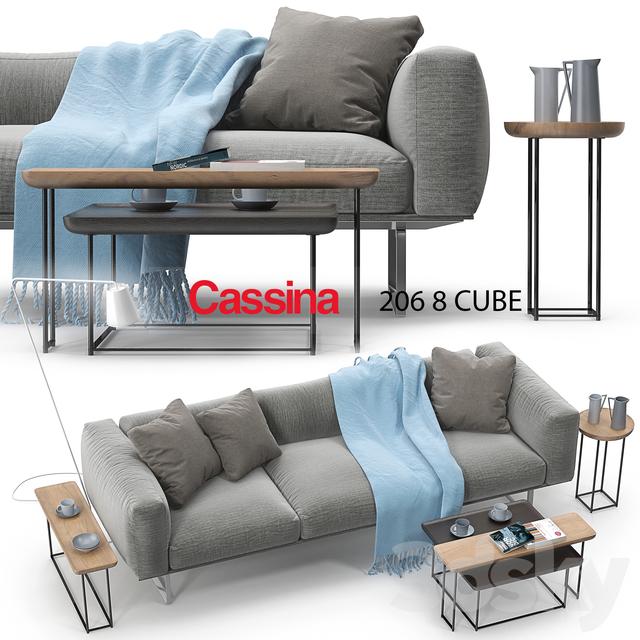 3d models sofa cassina 206 cube sofa set for Sofa 8 cassina