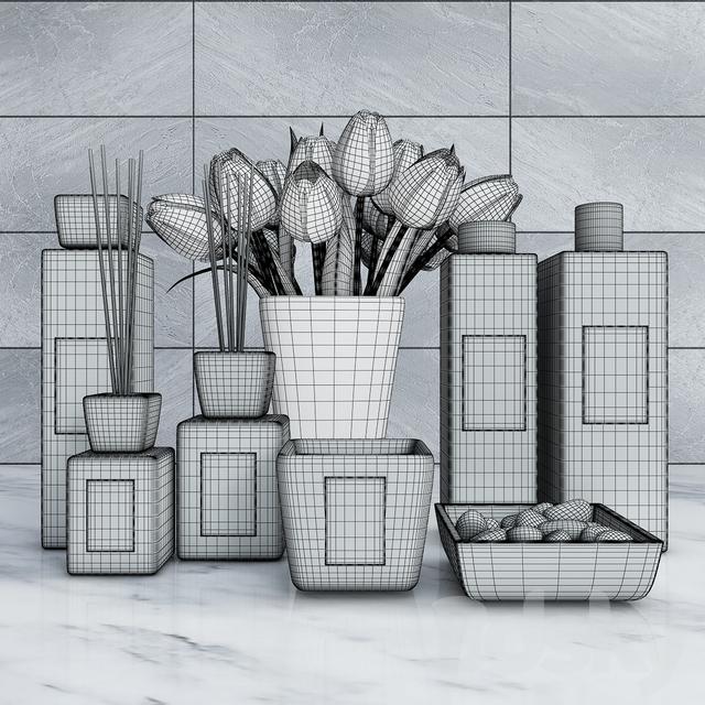3d models bathroom accessories decorative set of bathroom 2 for Fancy bathroom accessories sets