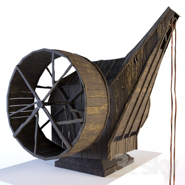 3d models: Other architectural elements - Double treadwheel crane