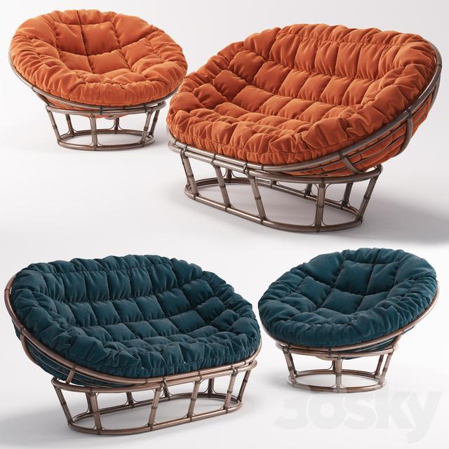 3d models sofa rattan chair papasan and sofa rattan mamasan for Papasan sofa