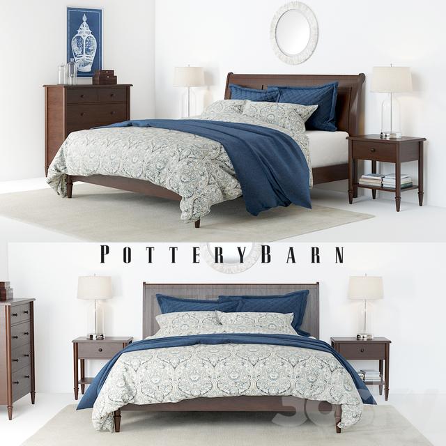 3d Models Bed Pottery Barn Crosby Bedroom Set
