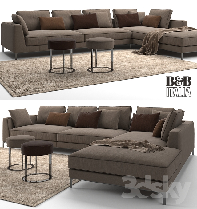 3d models sofa maxalto b b italia lucrezia 39 to size 39 sofa. Black Bedroom Furniture Sets. Home Design Ideas
