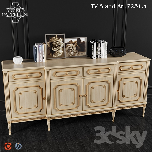 3d models sideboard chest of drawer angelo cappellini. Black Bedroom Furniture Sets. Home Design Ideas