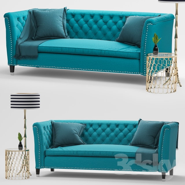 3d Models Sofa Nightingale Teal Blue Velvet