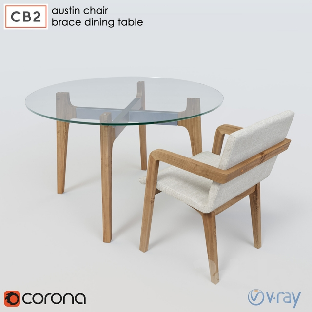 D Models Table Chair CB Brace Dining Table Austin Chair - Cb2 kitchen table
