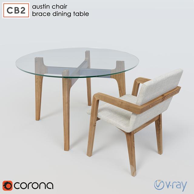 Cb2 Brace Dining Table Austin Chair