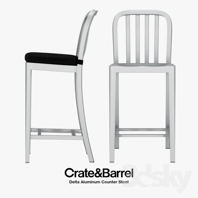 3d Models Chair Crate Amp Barrel Delta Aluminum Counter