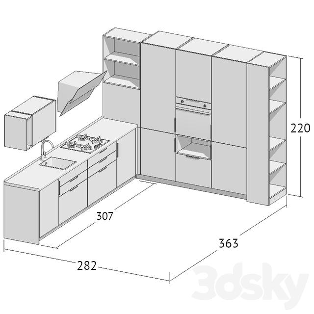Kitchen corner 3d model free
